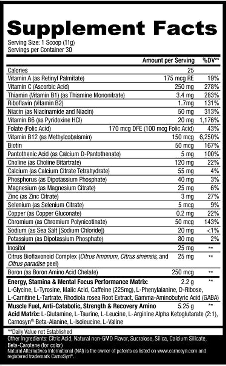 Octane Energy Drink Supplement Nutrition Facts