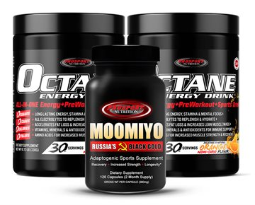 OCTANE ENERGY DRINK™ & MOOMIYO  2 x 30 Serving Tubs of OCTANE + 1 Bottle MOOMIYO