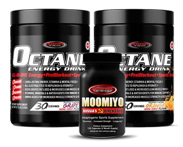 OCTANE ENERGY DRINK™ and MOOMIYO 2 x 30 Serving Tubs OCTANE + 1 Bottle MOOMIYO